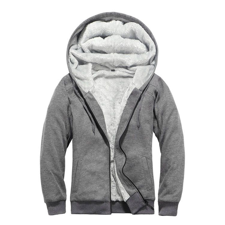 Solid Fleece Super Thick American Size Full Zip OEM Blank Customizable Embroidery Hooded Sweatshirt Coat Hoodie