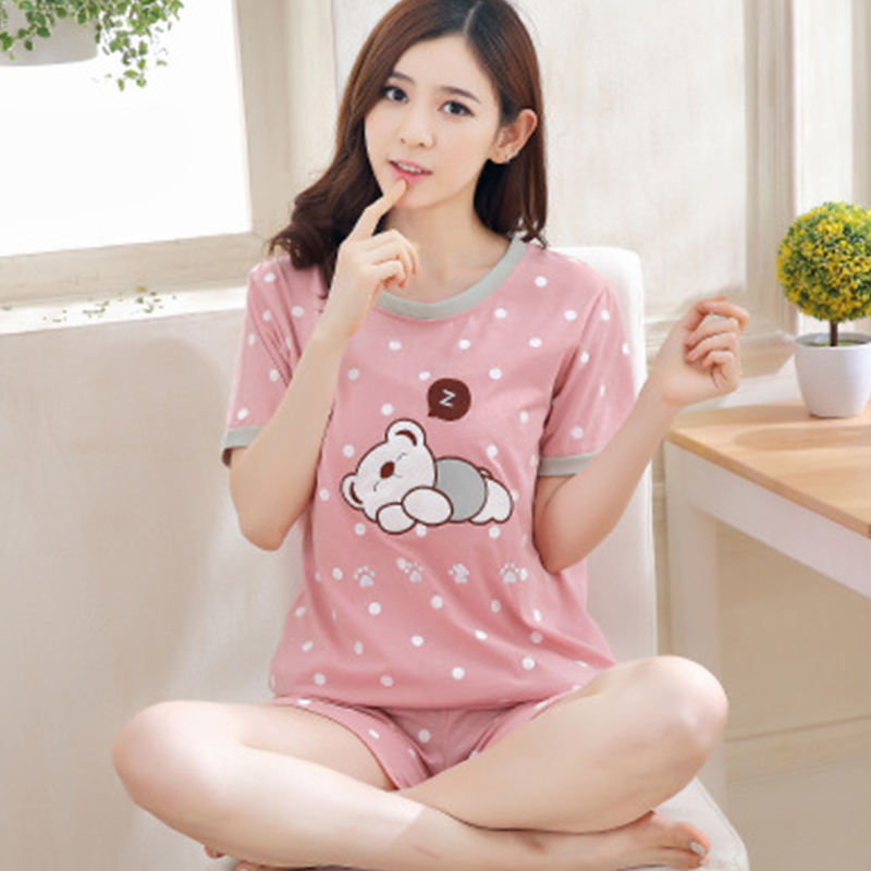 Cartoon Pattern Sweet Pajama Set Women New Style Loose Casual Round Collar Short Sleeve Sleepwear