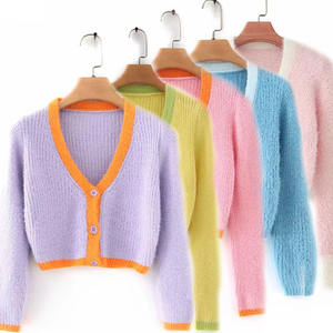 2020 Fall Korean Custom Knit women Mohair Knitwear Crop Top Cardigan Sweater