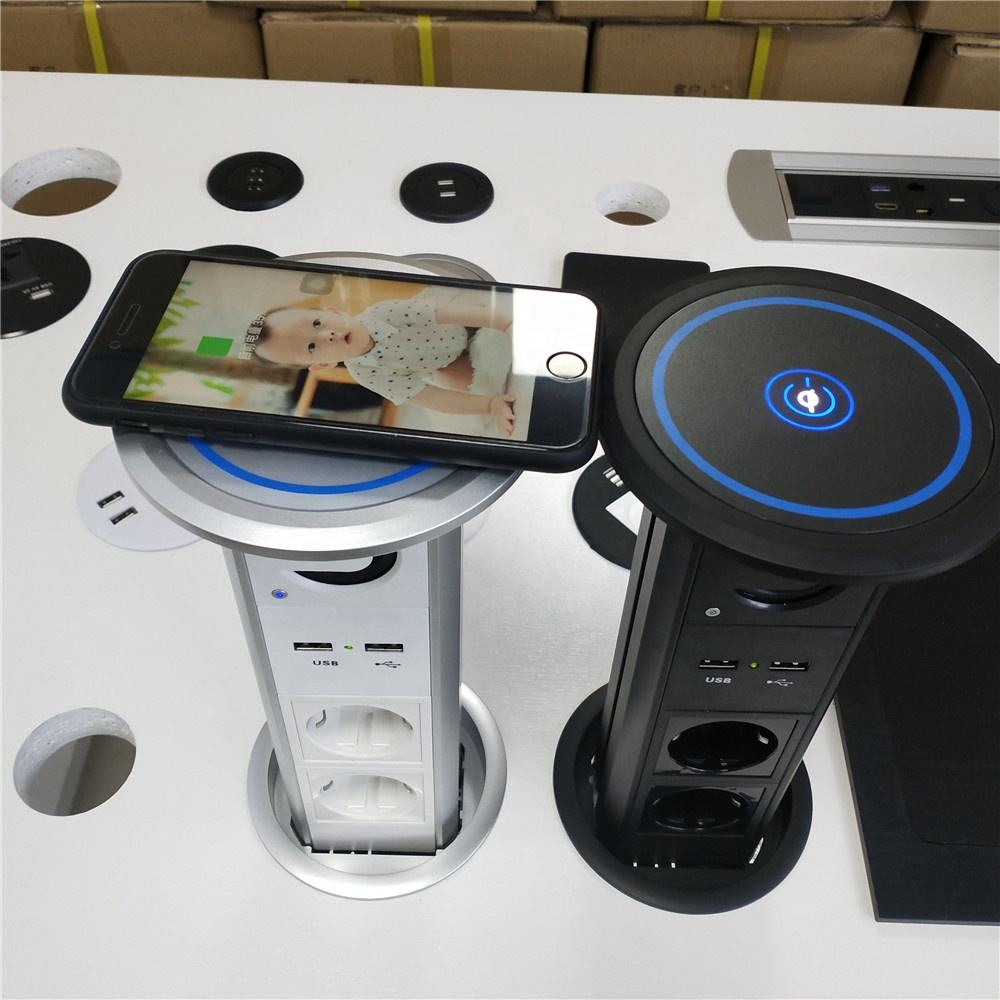 Waterproof Motorized Intelligent Lift EU Power Kitchen Pop up Smart Socket Tabletop Socket 16A CE 250V AC Silver. Black , White