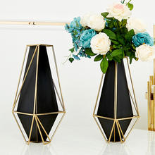 luxury Blown Antique Modern Wedding Small tall decoration vase decor glass metal flower vase