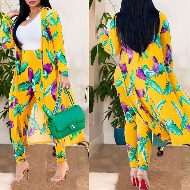 Yellow Printed Casual Loose Big Size Ladies 2 Piece Jumpsuit Women Clothing