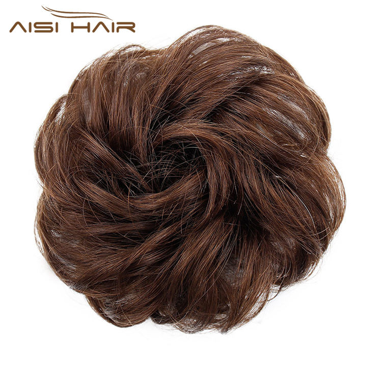 Aisi Hair Brazilian Human Hair Curly Light Brown Chignon Bun Elastic Rope Rubber Band Hairpiece Clip In Extension For Women
