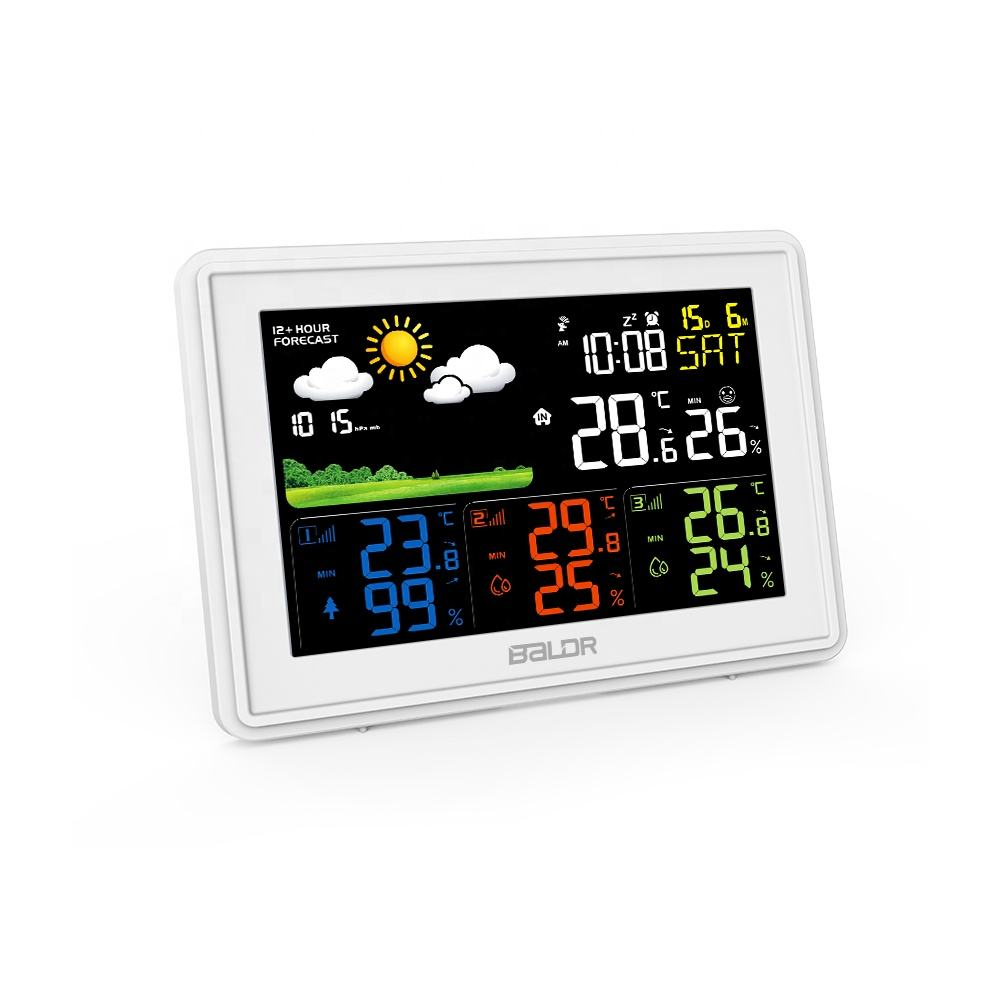 BALDR B0359 Digital Weather Forecast Weather Station Indoor Outdoor Temperature Humidity Alarm Clock