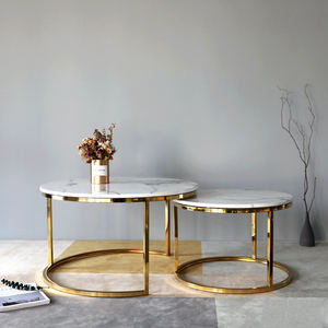 SANQIANG metal marble coffee table rounded table coffee table
