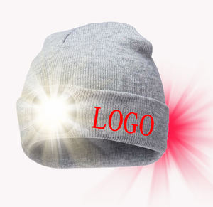 LED knitted hat Front and Back 2 Lights Unisex Outdoor Camping Running Knitted Beanie Bun hat Climbing winter hats for chiller