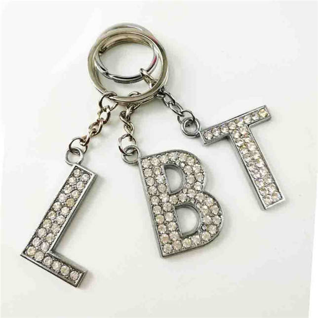 Custom metal letter charms embossed keychain for sale
