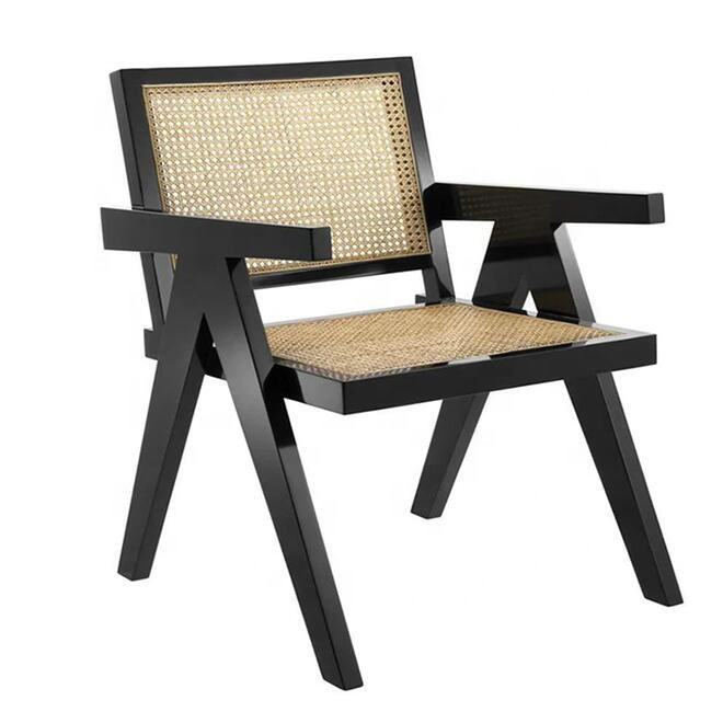 Hot selling Japanese nordic style restaurant dining room wooden cane rattan wicker dining arm chair