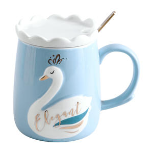 Couple Crown Ceramic Mug with Lid and Spoon Swan Cup for Oat Milk Drinking