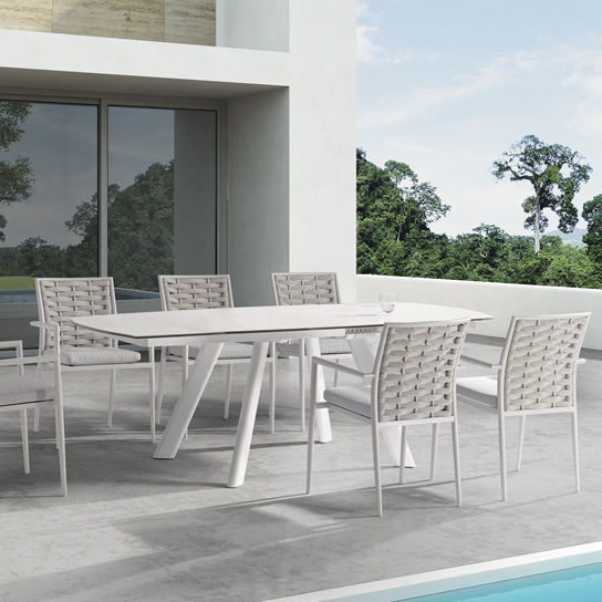Couture Jardin Loop Swivel Dining Table Set Modern Of Frosted Glass Dining Table With 6 Chairs,Modern Rattan Dining Set
