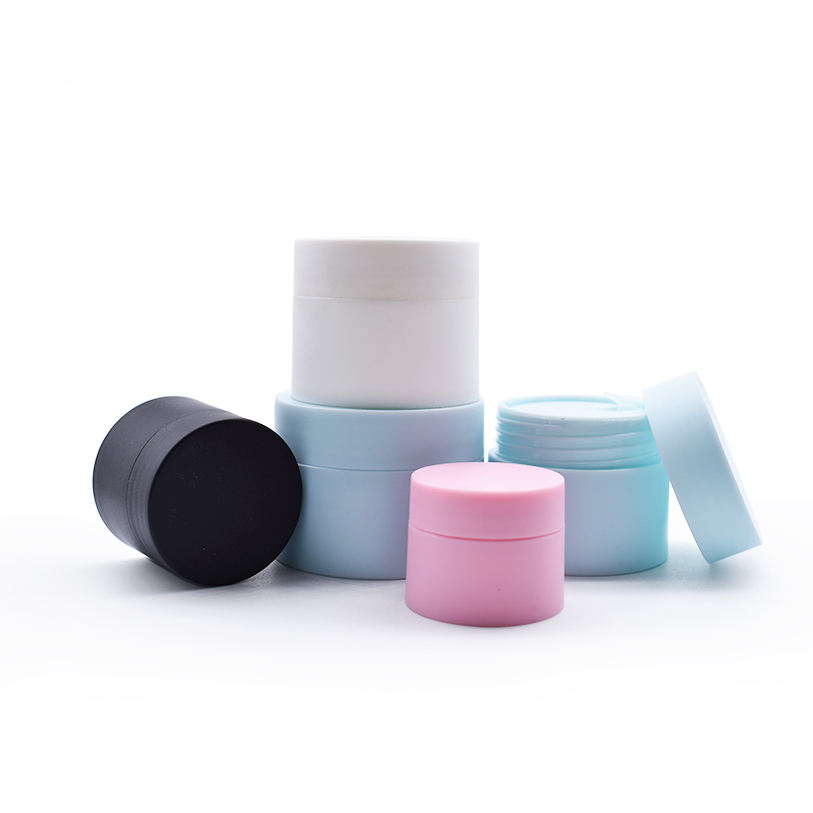 Matte cosmetic makeup jar 30g black blue white pink frosted refilled packing with inner prevent leakage