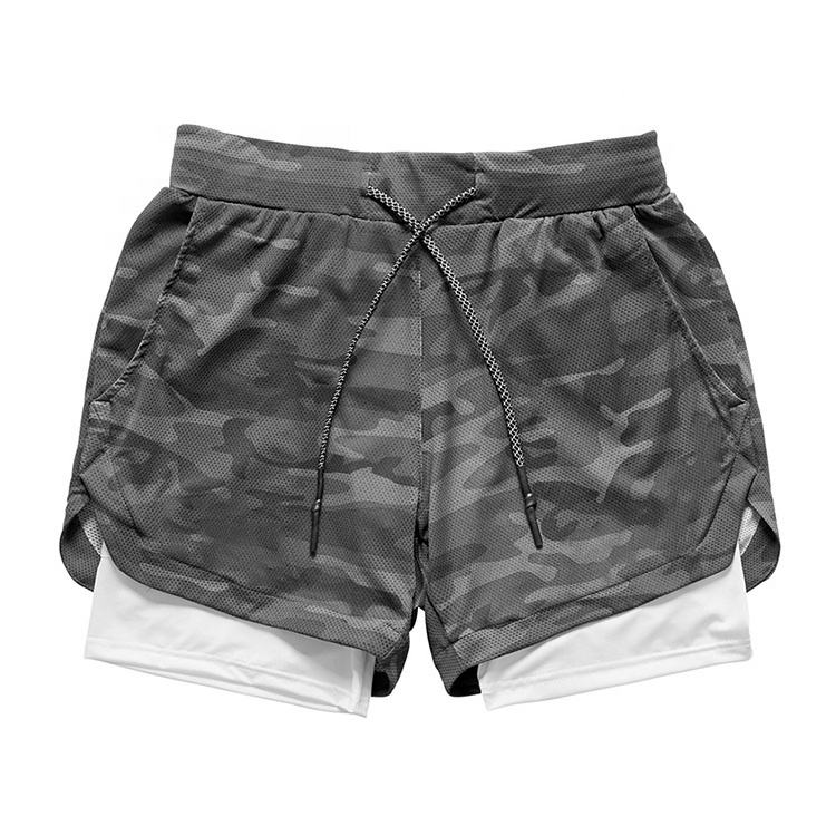 100% polyester camouflage shorts pants camo running men shorts 2 in 1 double deck mens workout shorts