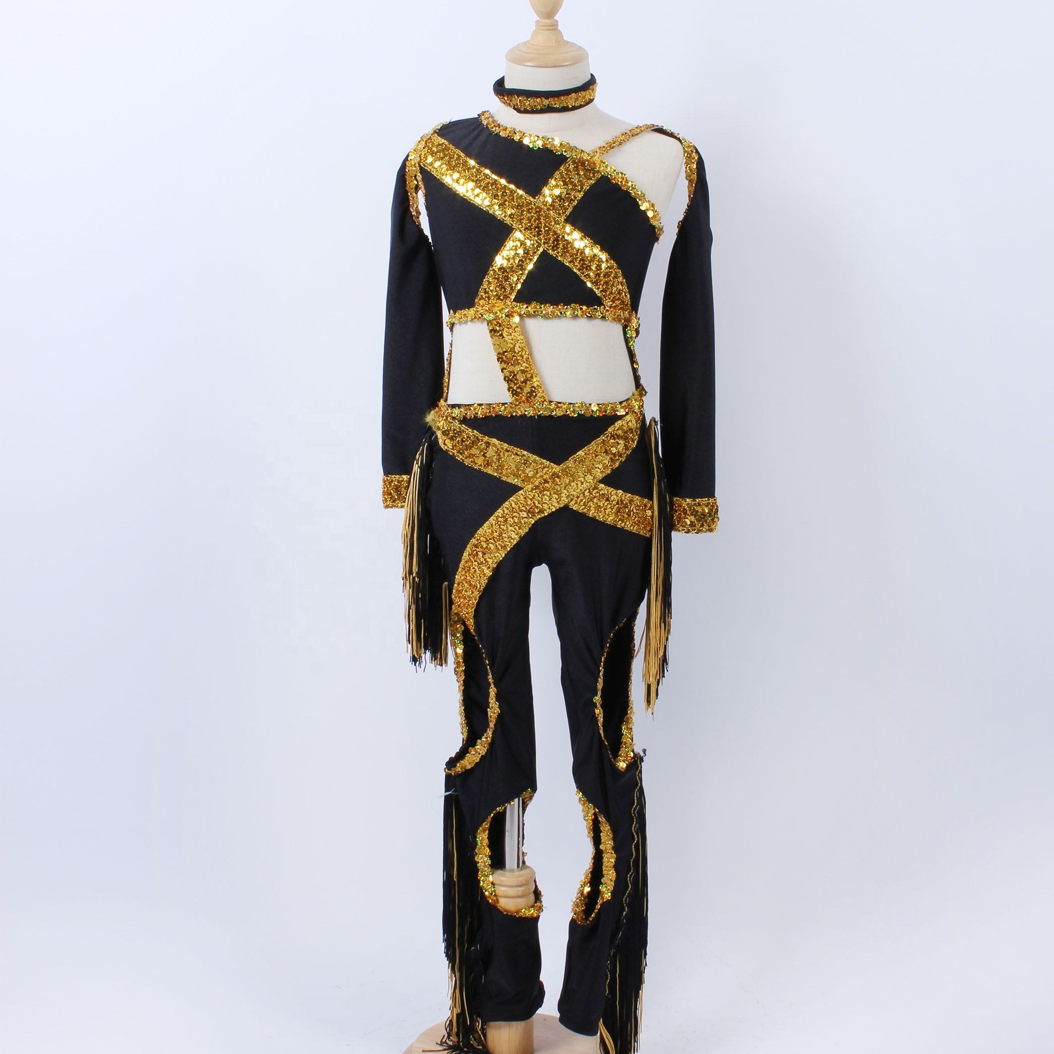 black and gold practice dance wear girl jazz performance dance costume cool girl stage performance dance leotard