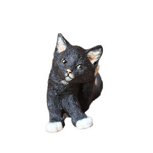 Cartoon leuke polyresin simuleren dier pop Halloween zwarte kat beeldje