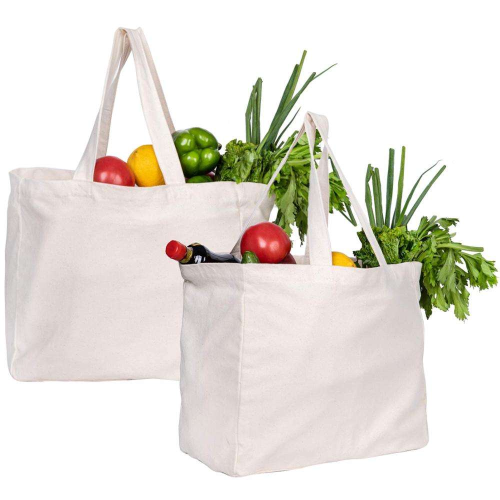 Shopping Pocket Organic Cotton Canvas Tote With 6 Large Interior Pockets Supermarket Bag