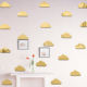 FUNLIFE 10 pieces Children Wall DecalsSilver Metallic Gold Mirror Decal DIY Cloud Wall Sticker for Baby Nursery Kids Room
