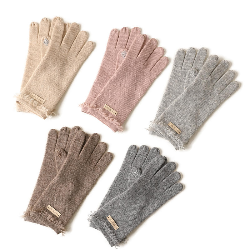Winter Fashion Womens warm knitted Cashmere long Gloves wholesale