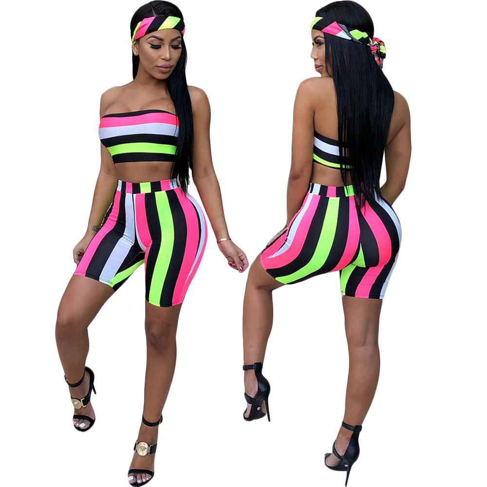 Free shipping Striped Sexy Three Pieces Set Women Head Scarf+Crop Tops+Bodycon Shorts Suits Summer Beach 3 Piece Tracksuits