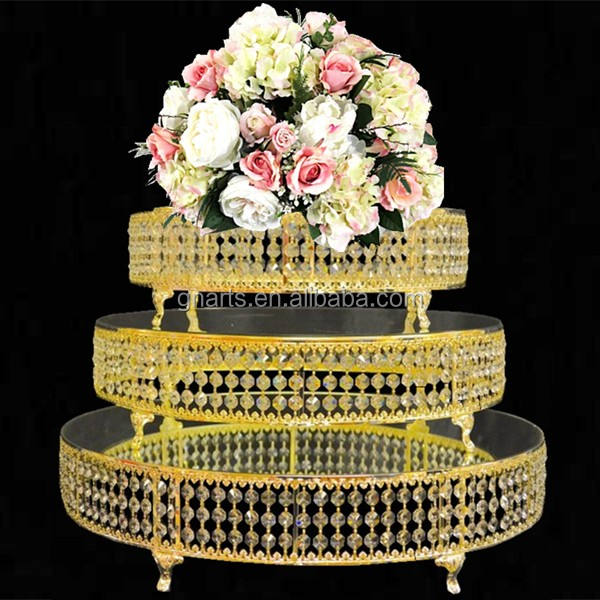 Nobleness gold circle metal glass cake stand for wedding decoration,home decoration cake holder