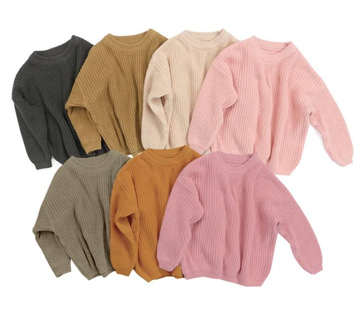 wholesale solid color nude knitted girls handmade baby sweater