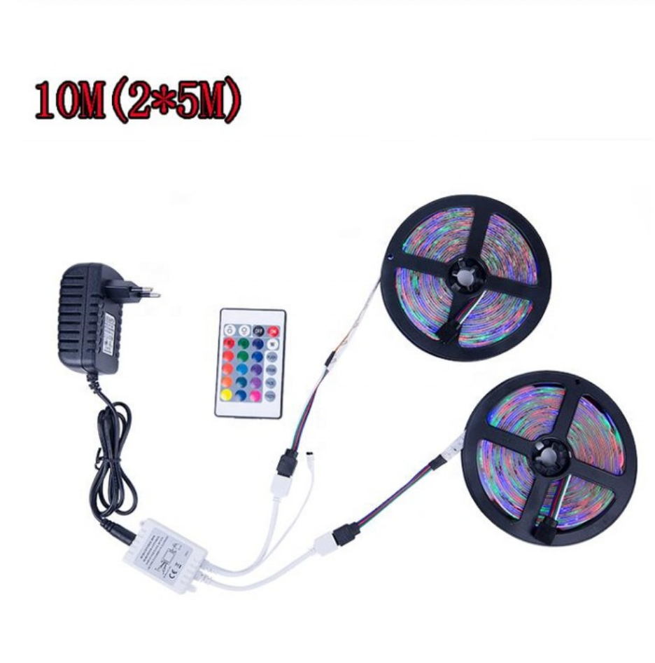 RGB LED Strip 5M 10M(2*5M) SMD 3528 2835 LED Light IR Remote Controller 12V Power Adapter Flexible Light Led Tape Home Decoratio