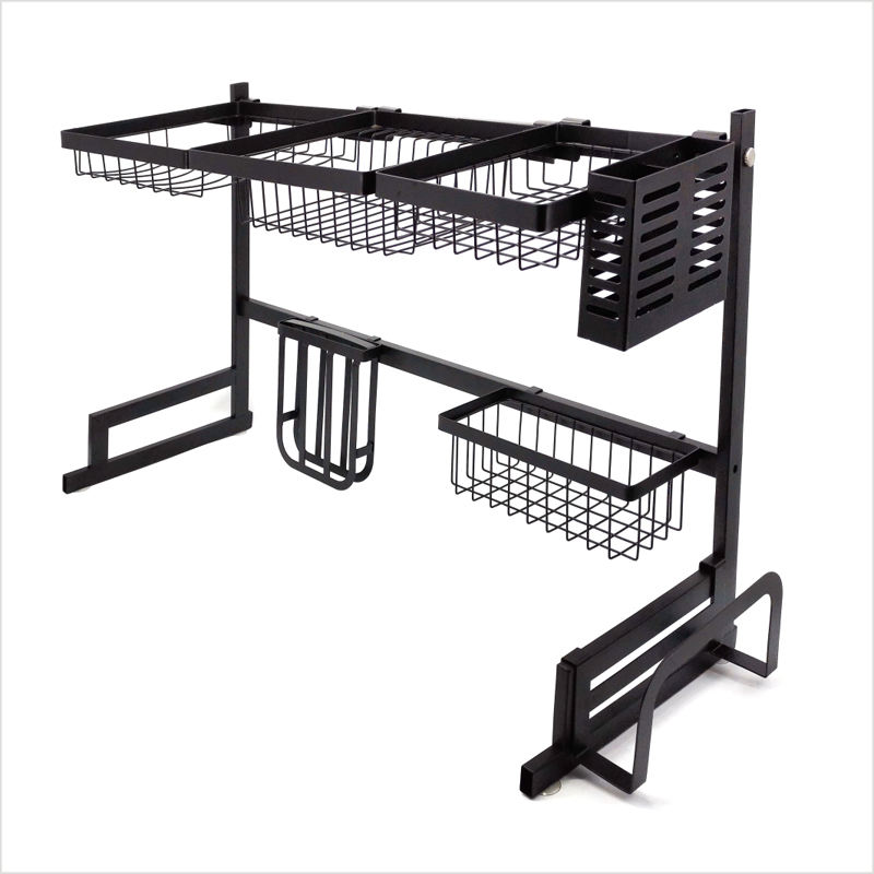 Stainless Steel Drying Dryer Holder Metal Stand Plate Shelf Rack Two Tiers Dish Drainer Kitchen Storage