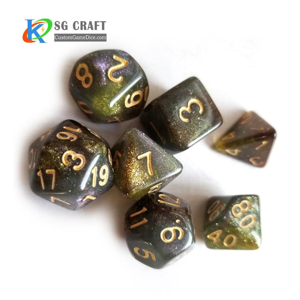 Acrylic Polyhedral Dice Set Hot Sale Polyhedral Dice Sets 7PCS Acrylic 3 Color Mixed Chameleon D D RPG MTG Table Games Dice Set