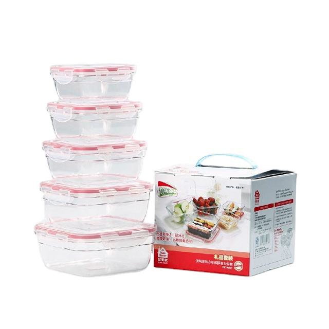 BPA Free Plastic Food Container Set with Locking Lids Keep Food Fresh with Airtight 5PCS