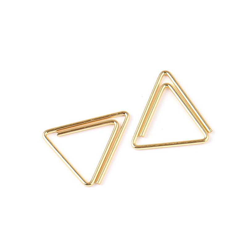 School supplies paper clips golden metal Japanese design triangle paperclip