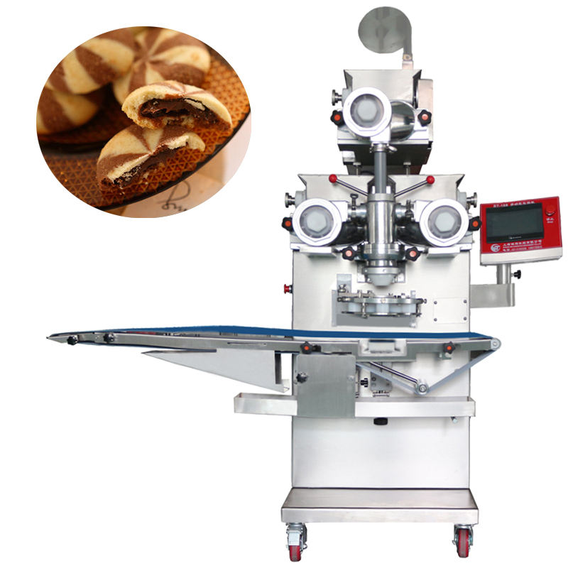 Cutting automatic encrusting machine make round arabic cookies with date like bra