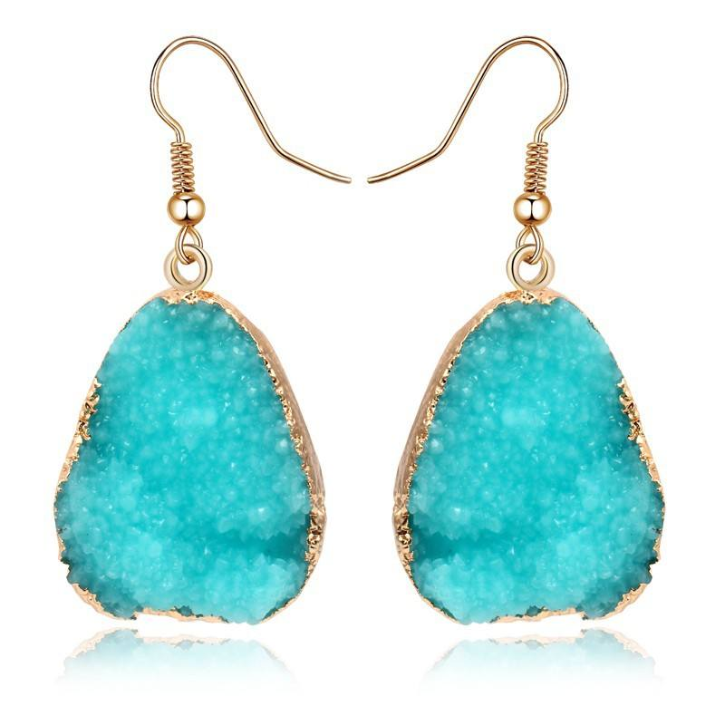 Damenmode Natural Druzy Achat Edelstein <span class=keywords><strong>Ohr</strong></span> haken Teardrop <span class=keywords><strong>Ohr</strong></span> Anhänger baumeln Ohrring