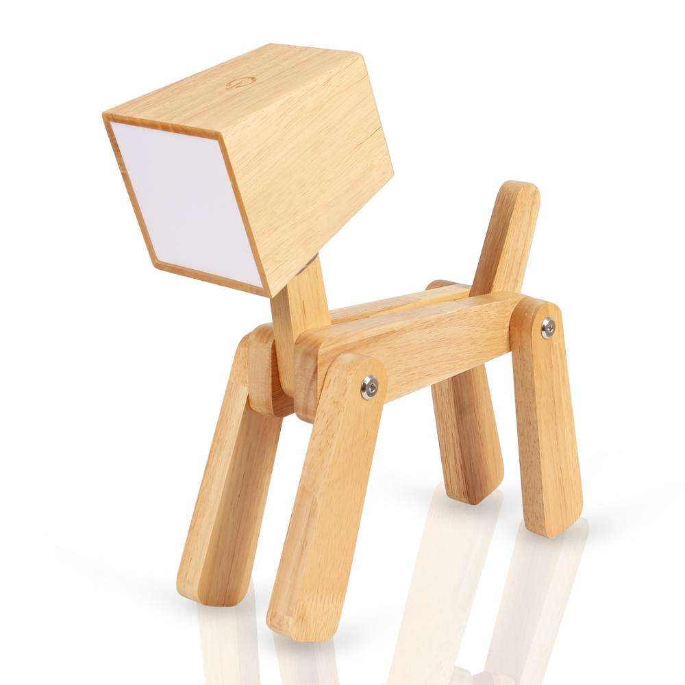 Modern Lovely Dog Wooden Study Bedside Reading Table lamp LED