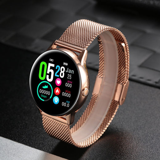 DT88 Golden Color Smartwatch with Heart Rate Monitor Calories Counter Sleep Trackers Pedometer Sedentary Reminder