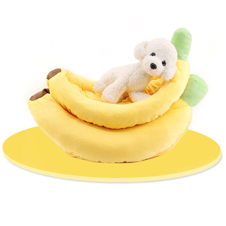 Creative Design Fabriek Directe Verkoop Dierbenodigdheden Banaan Vorm Kennel House Keeping Warm Hond Kat Bed Nest Dropshipping