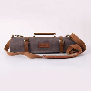 Custom Vintage Carrying Gewaxt Canvas Lederen Slager Chef Mes Tool Roll Bag Case Met 10 Zakken