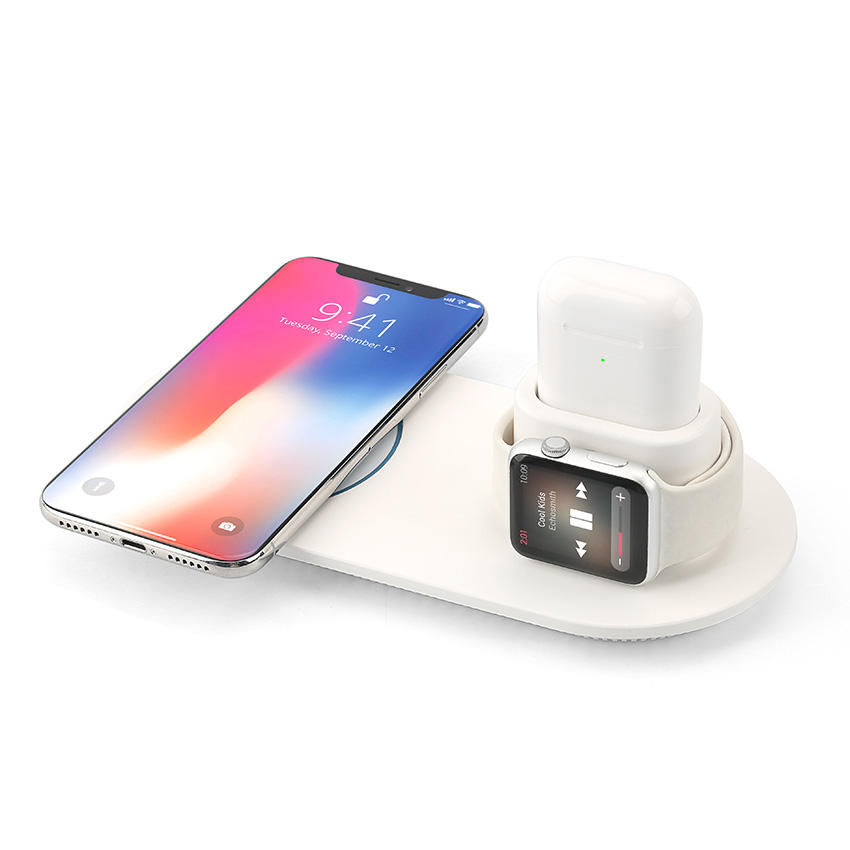 Cellphone Qi Wireless Charger Portable 3 in 1 Charging Station For iPhone Earbuds Air Pod