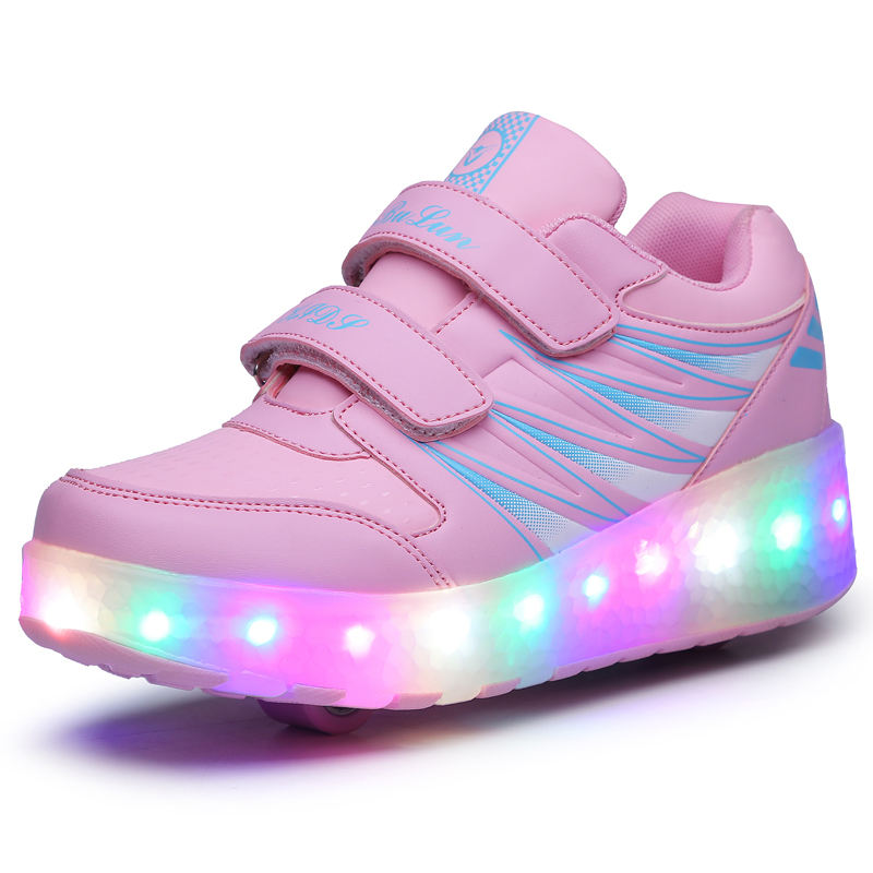 New Design EUR 27-43 Boys Girl Led Light Sneakers Glowing Luminous Children Roller Skate Shoes With 2 Wheels