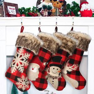 2020 Custom Personalised Farmhouse Red And Black Buffalo Plaid Faux Fur Luxury Christmas Stocking Sock In Bulk