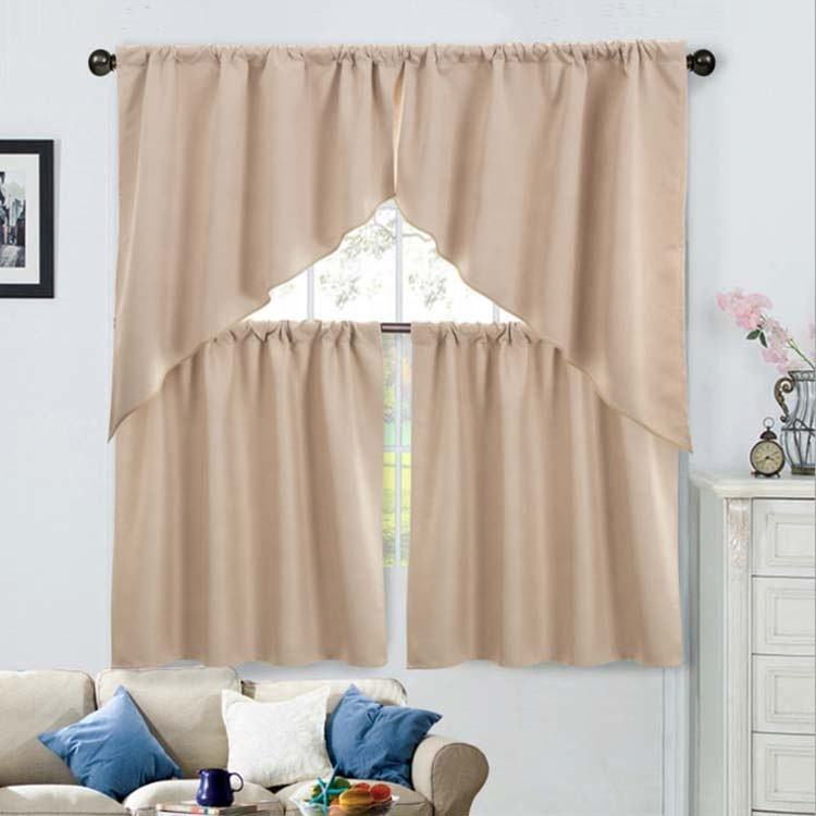 swallow tail poly cotton kitchen curtain ready made window curtains kitchen curtains set 3pcs