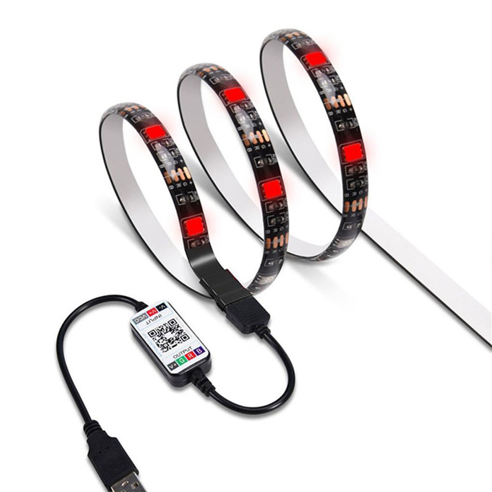 5V USB Powered PCB สีดำ RGB 5050 60LED/M ทีวี Backlight Strip ไฟ LED Strip