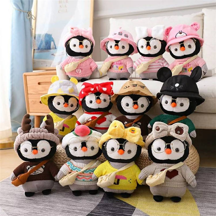 High quality cute soft stuffed duck penguin with accessories plush toys for children