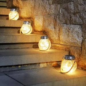 Newish outdoor Eaves Hanging Hemp Rope Crackle Bottle Glass Jar Copper Wire Led Lighting up Solar Decoration charging crack lamp