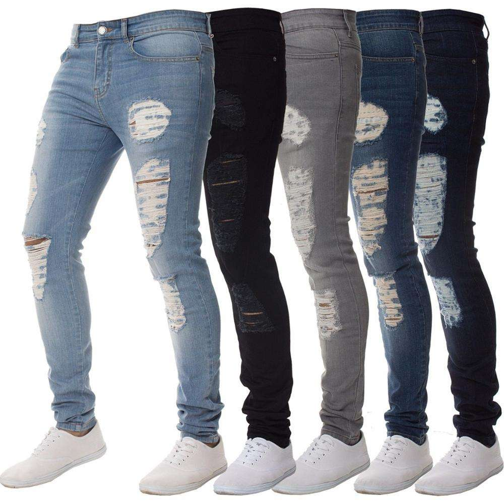 Factory Wholesale Black Ripped Mens Skinny Trousers Elastic Denim Pant Damage Jeans Men