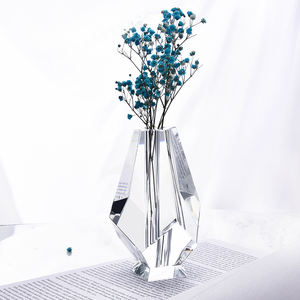 Handmade Geometric Cut Clear K9 Crystal Decoration Flower Bud Vase
