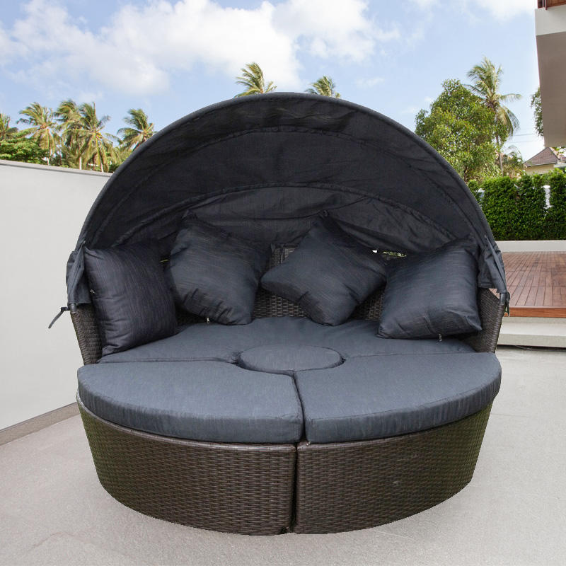 2020 Most popular China factory cheap Waterproof patio furniture With cushion Round rattan Garden Sofas