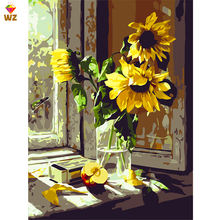 Fezrgea Framed Seascape Diy Painting By Numbers Sunflower Diy Oil Painting For Bedroom 40x50cm