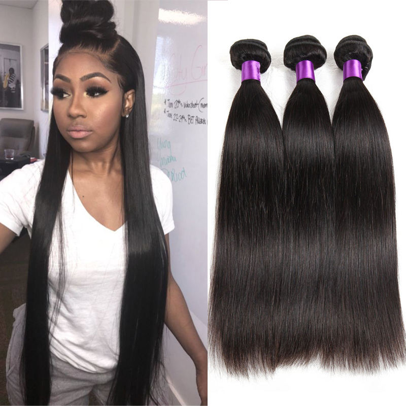"Cuticle Aligned Hair from India 9A Straight Human Hair Lace Frontals 8""-30"" Raw Vrigin Indian Hair Weave Bundles with Closure"