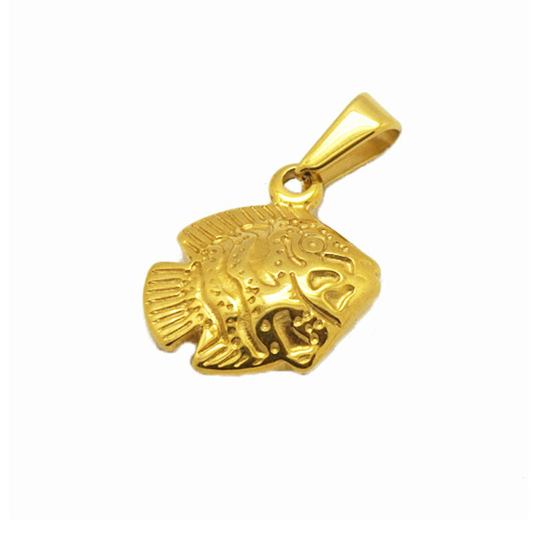 stainless steel fashion accessories delicate engraved trendy jewelry new design gold fish pendants