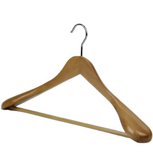 Durable natural wooden wide shoulder wooden coat and suits hanger with crossbar