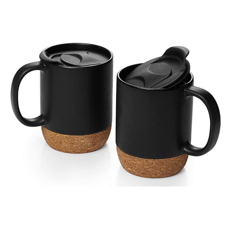 14OZ Ceramic mug with cork base and plastic lid